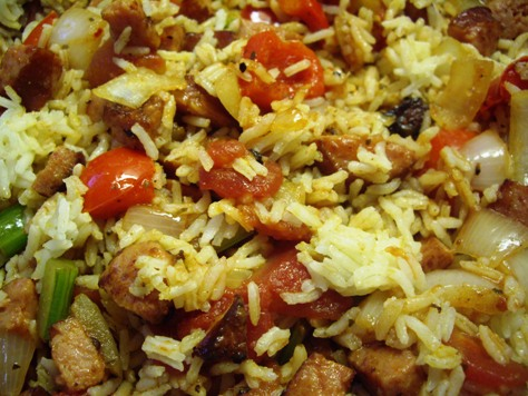 Red rice with sausage